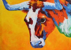 acrylic painting bull
